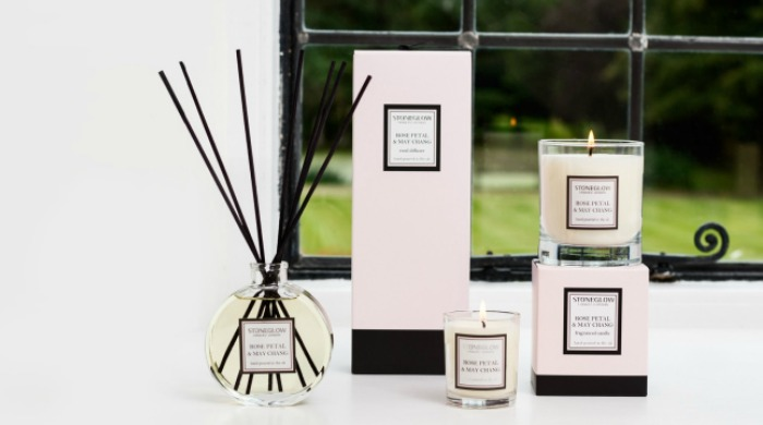 A set of Stoneglow candles and a reed diffuser.