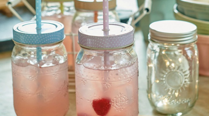 A set of spotty Parlane jars with straws.