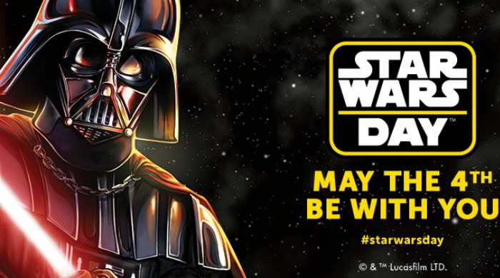 """Darth Vader with the words """"Star Wars Day: May the Force be with You""""."""