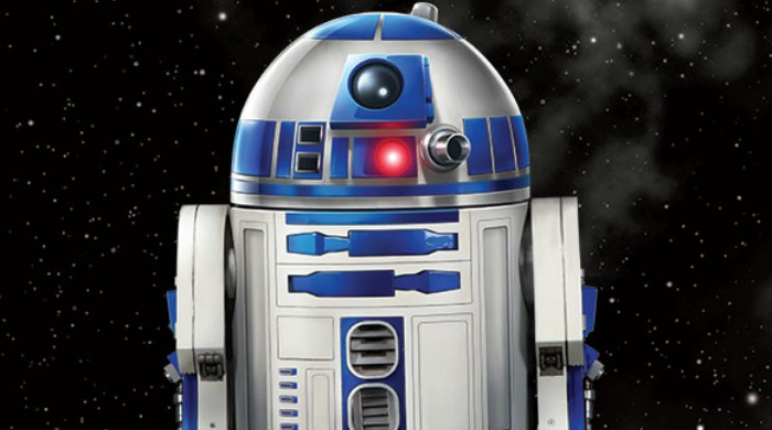 R2D2 against a black, starry background.