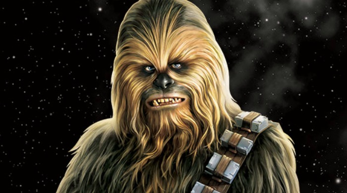 Chewbacca against a black, starry background.