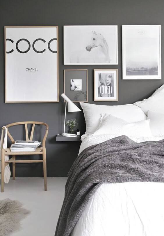 Scandinavian-grey-bedroom-with-prints