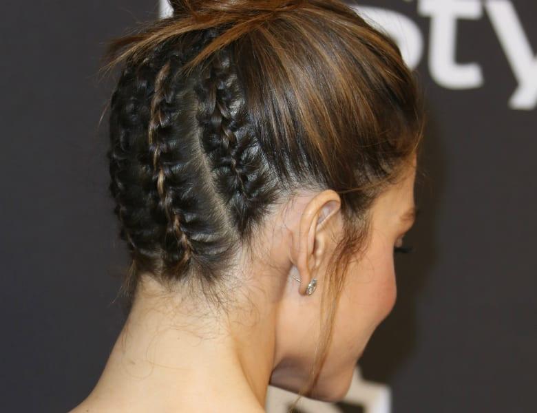 Maria Menounos plaited updo at Golden Globes