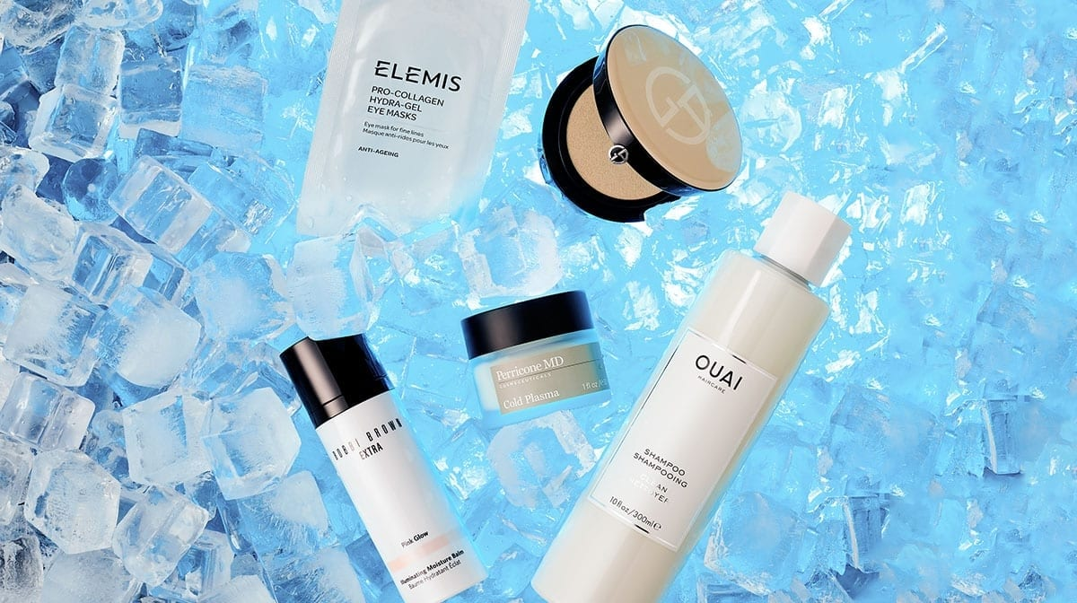 Cooling beauty products to help de-puff the skin and refresh your hair