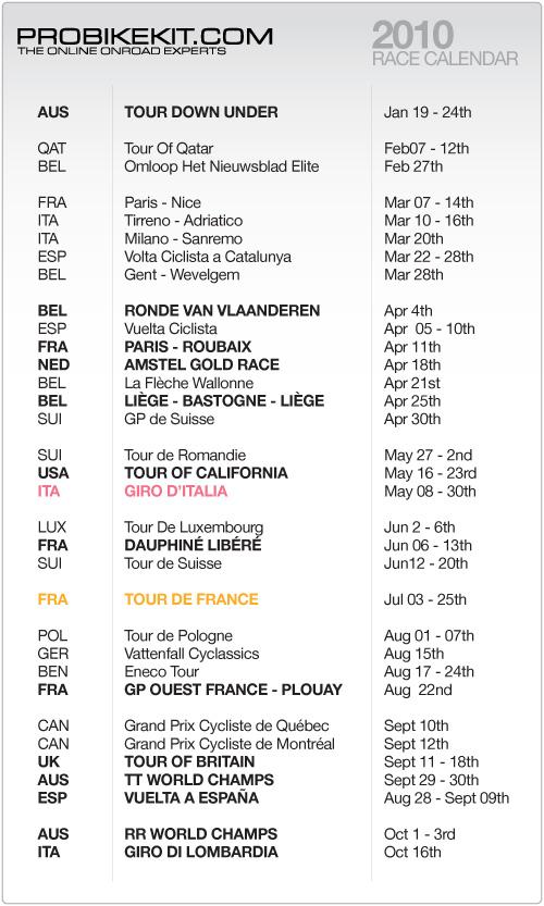 PBK's 2010 Race Calendar