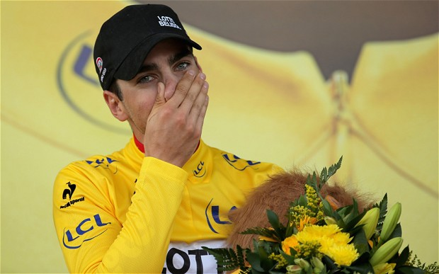Tony Gallopin takes the Yellow. Image: The Telegraph.