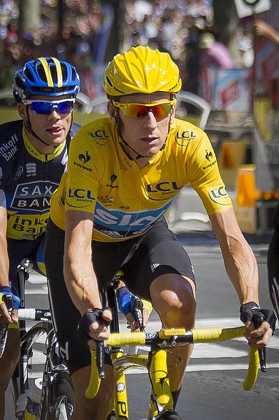 Bradley Wiggins wearing the Yellow Jersey in the Tour de France