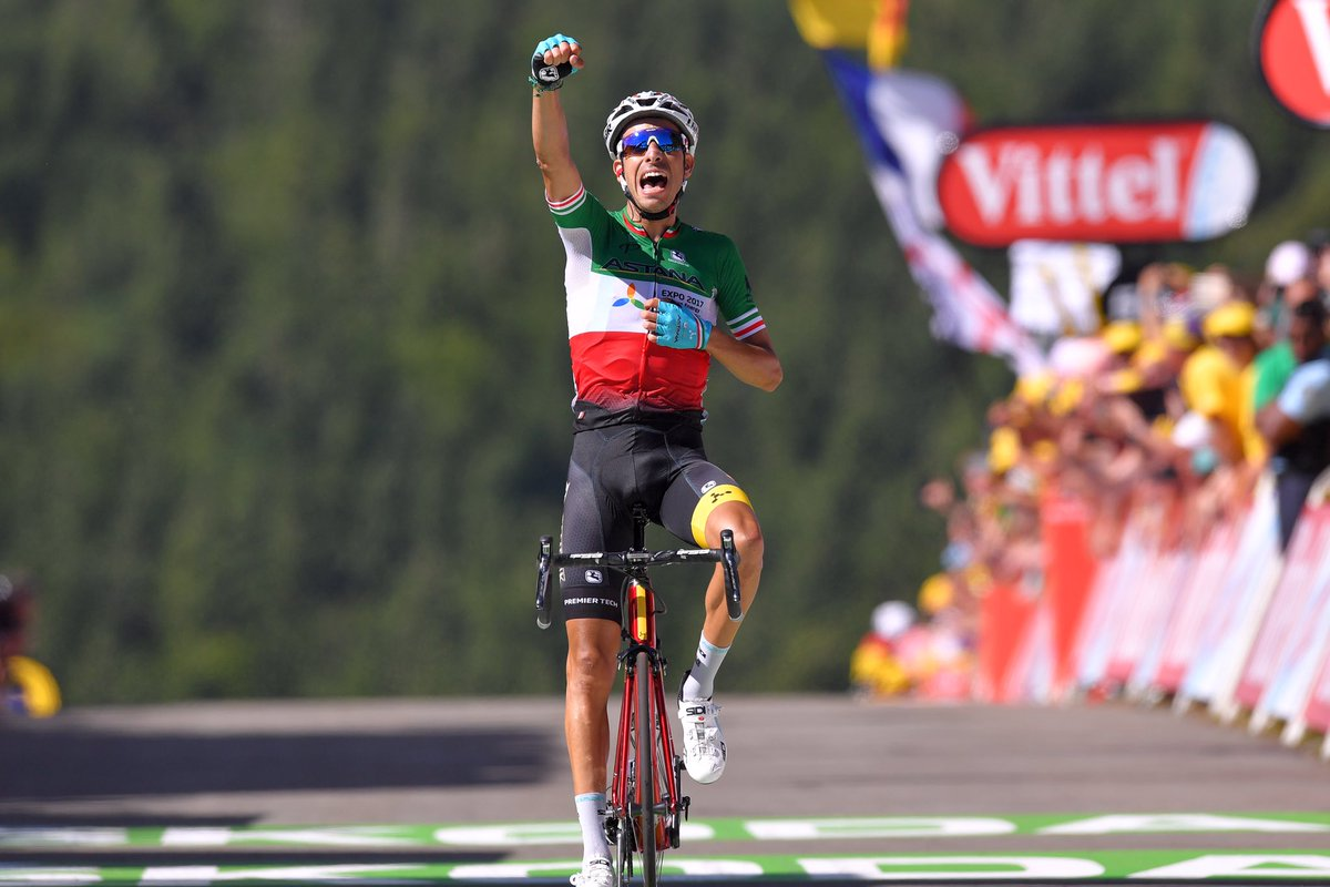 Italian champion fabio aru winning at the tour de france