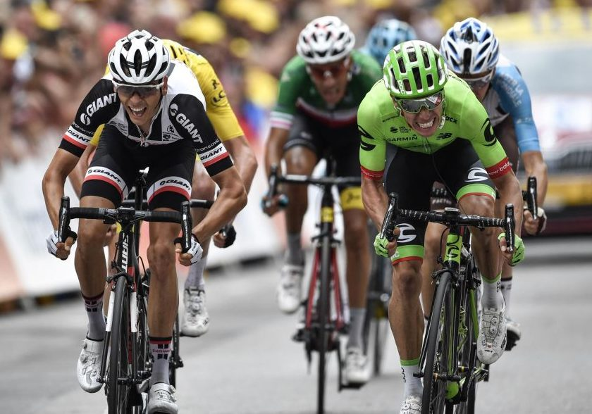 Rigoberto Uran winning a stage of the tour de france for cannondale drapac