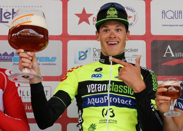 Lawrence Naesen podium photo prior to signing for lotto soudal world tour cycling team