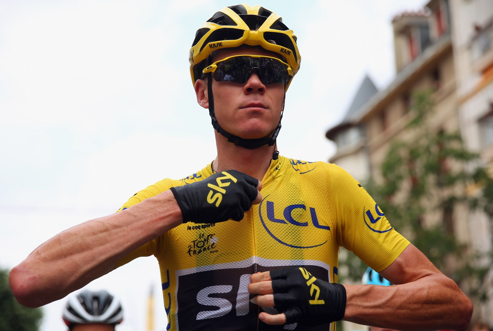 Chris froome of team sky in the yellow jersey at the tour de france