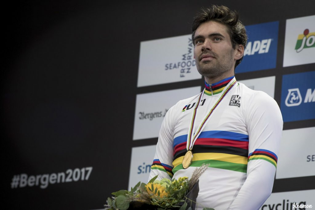 tom domoulin of team sunweb and Nederlands in the world championships jersey in norway having won the mens individual time trial