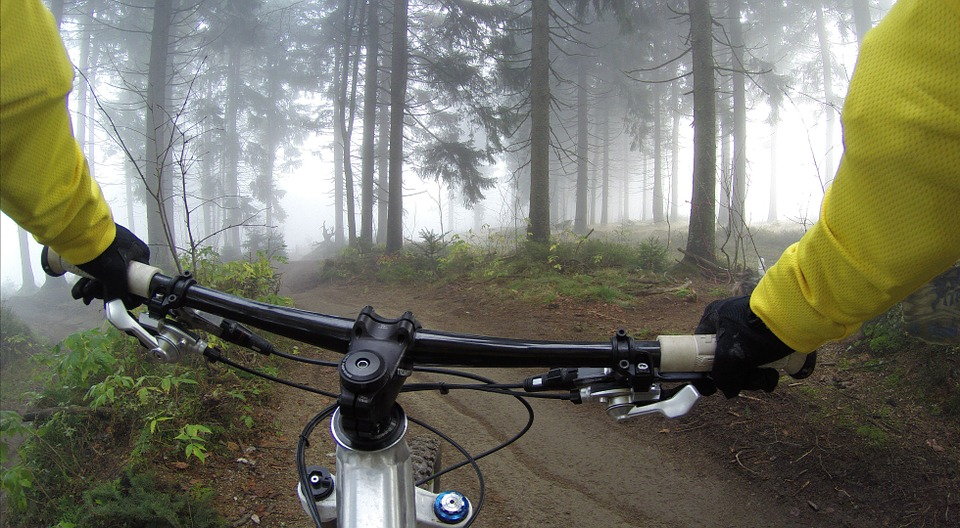 pov shot of a mountain biker with protective gear