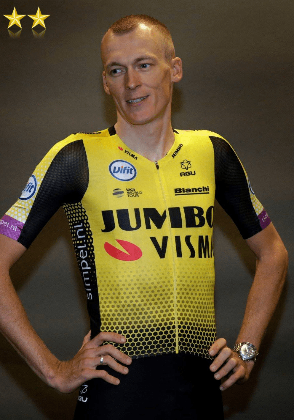 robert gesink in the 2019 team jumbo visma pro cycling team kit