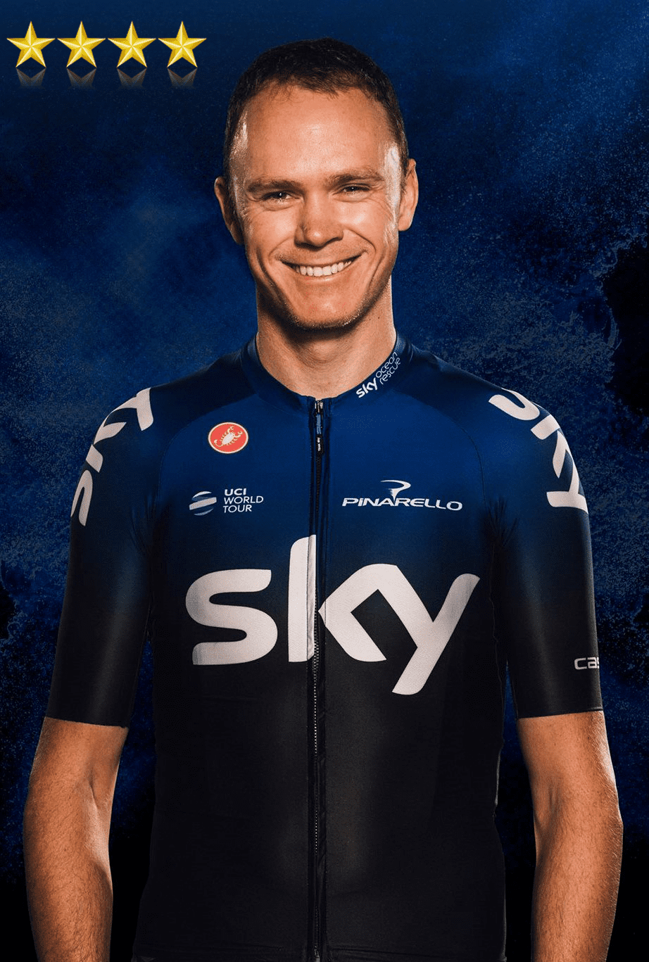 chris froome in the 2019 team sky cycling kit