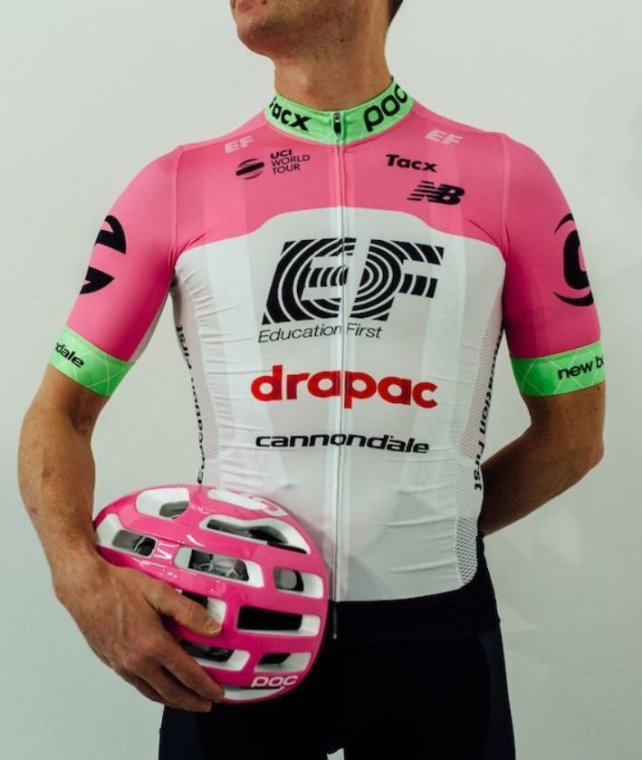 new pink pro cycling team kit from EF education first