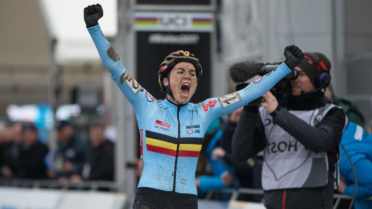 Sanne Cant winning the cyclocross world championships in Bieles