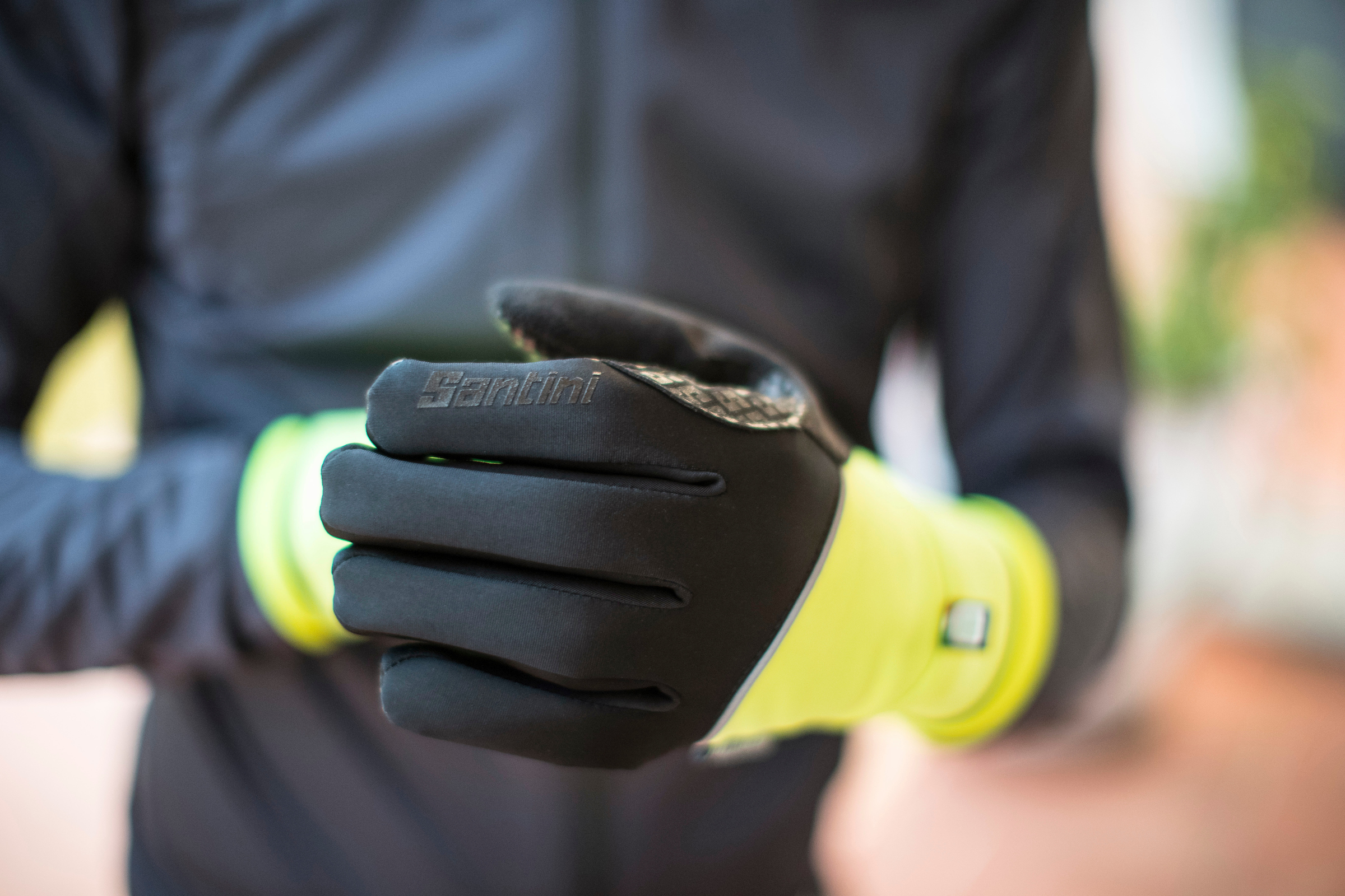 A cyclist in deep gloves from santini