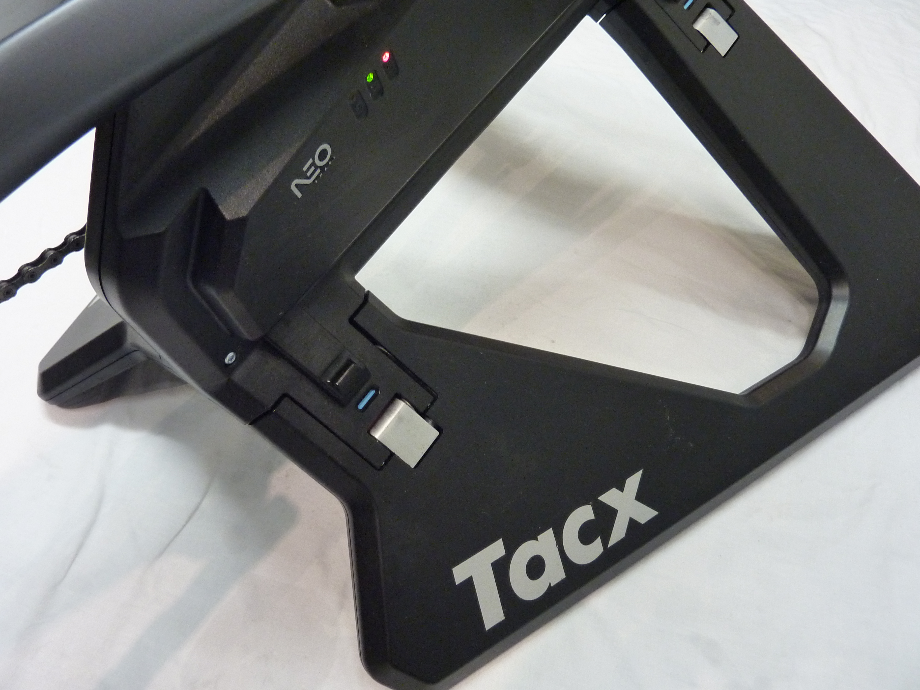 A close up of the tacx neo smart trainer