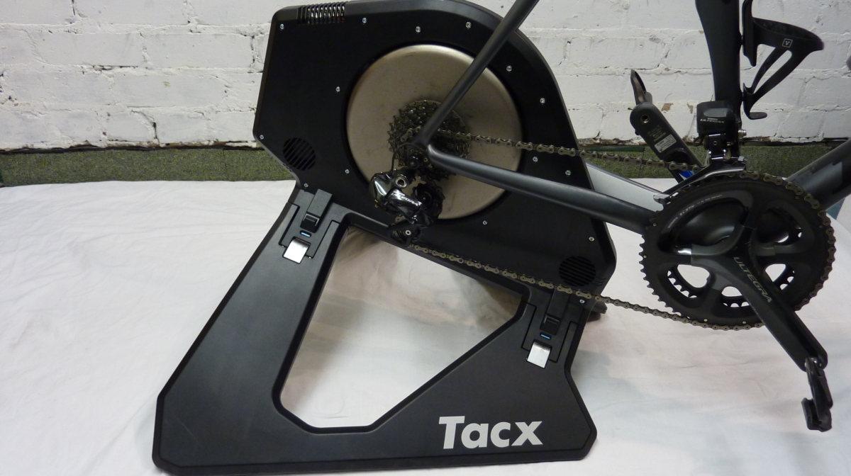 The tacx neo smart trainer setup with a road bike