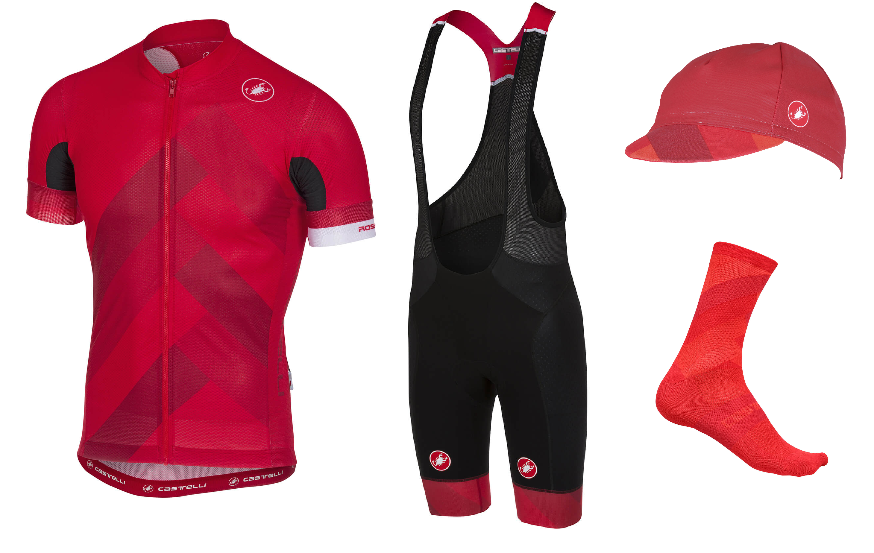 the castelli Free AR 4.1 range in red and black.