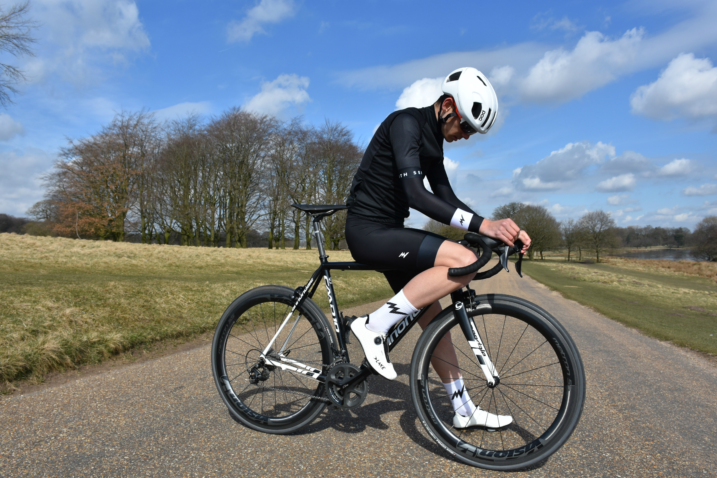 A cyclist posing in the Morvelo SS18 Stealth Nth series range