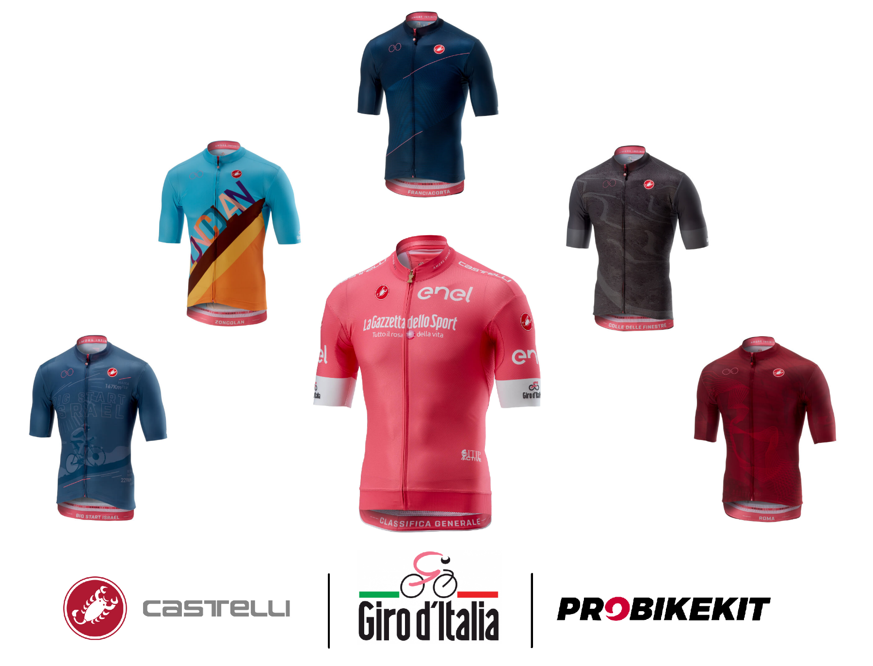 Giro D'Italia pink jersey and 5 special edition stage jerseys