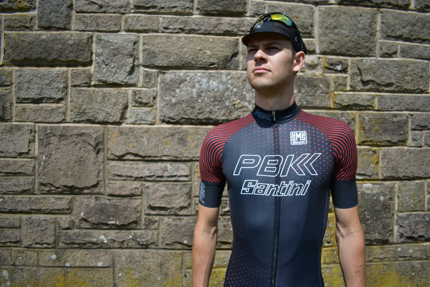 a rider in the PBK santini 19 jersey