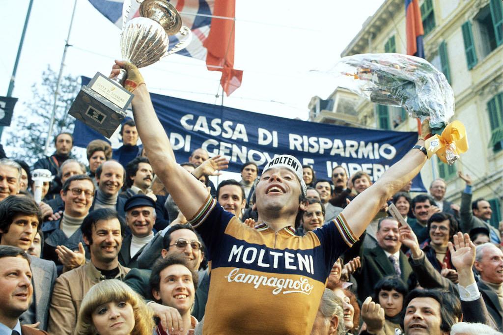 Eddy merckx celebrating in the molteni jersey.