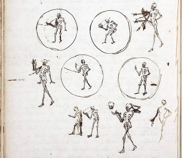 A storyboard portraying a skeleton taking its skull off its head