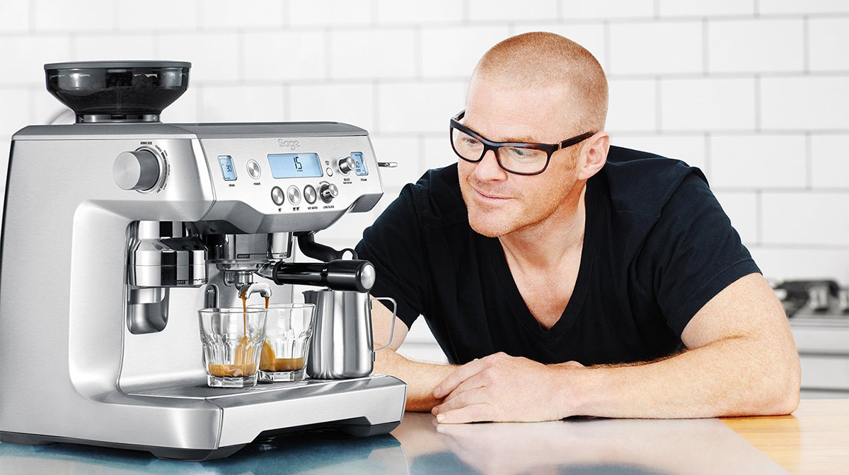 heston blumenthal looking at the sage by heston blumenthal the oracle machine on top of a kitchen surface