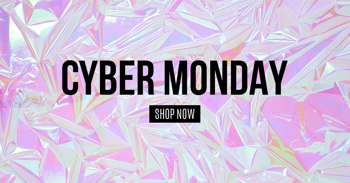 black cyber monday text on pink space foil background