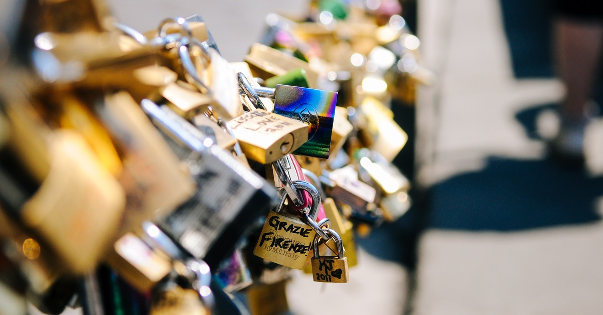 lovelocked bridge in florence, italy