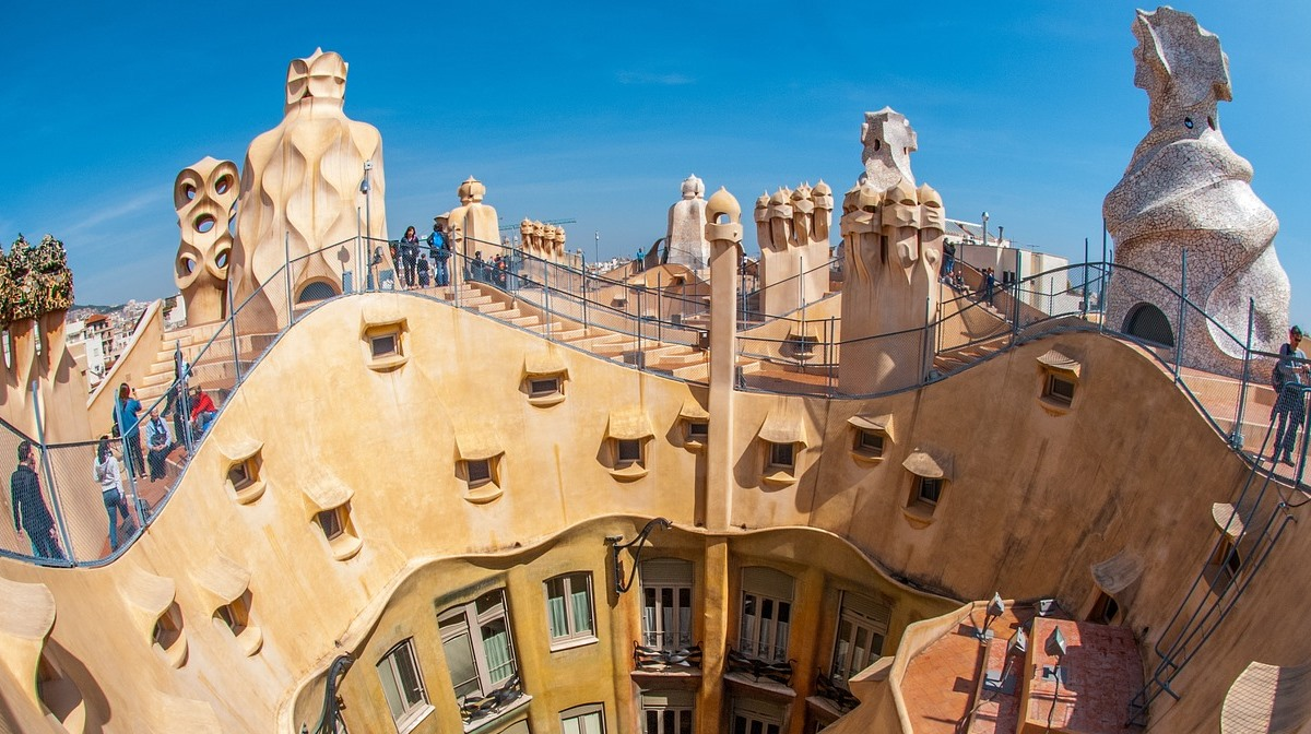 gaudi building rooftop daytime