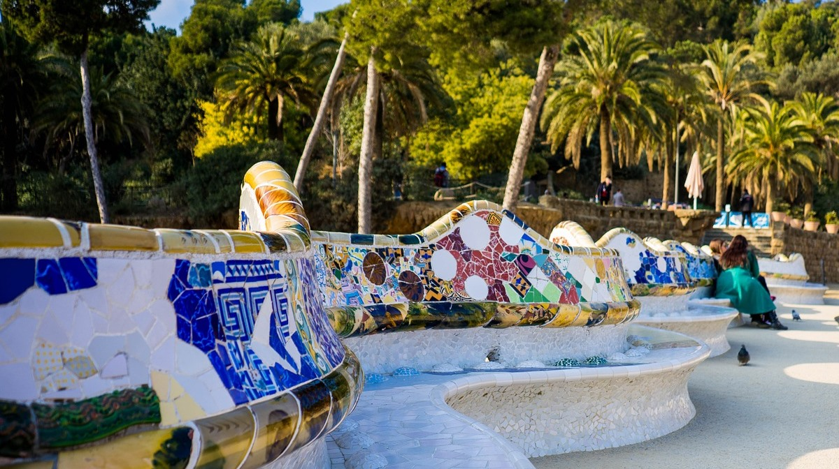 park guell late afternoon mosaic bench