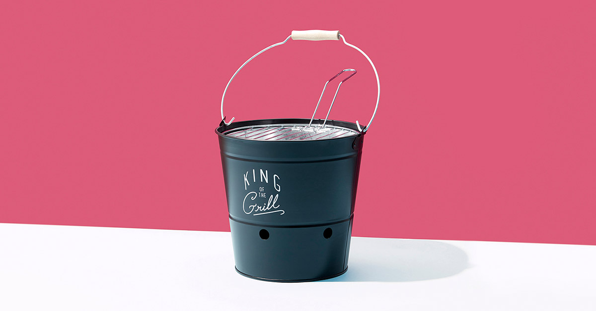 gentleman's hardware BBQ bucket grill on pink and white colorama