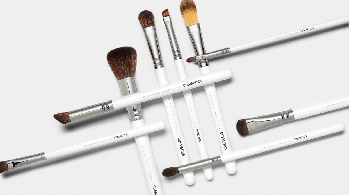 Flat lay of makeup brushes