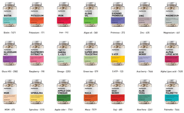myvitamins core range of bottles