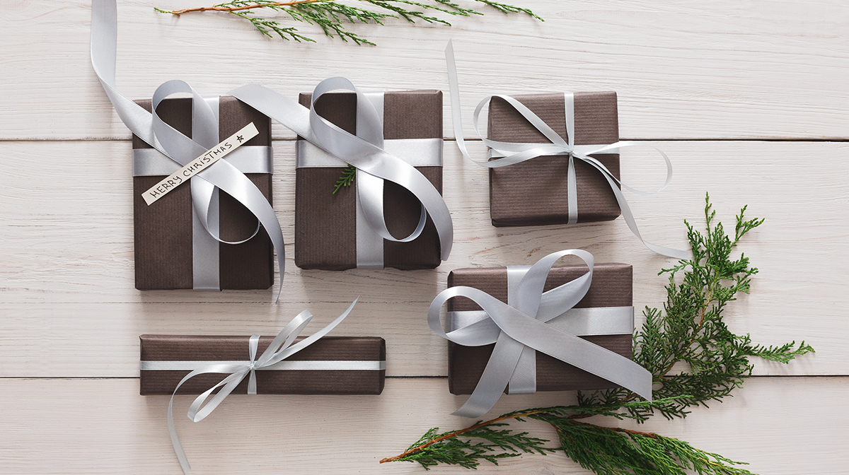 christmas gifts under £50 black paper wrapped presents