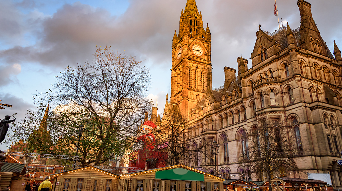 Manchester Christmas Market With Santa Clause in front of Town Hall