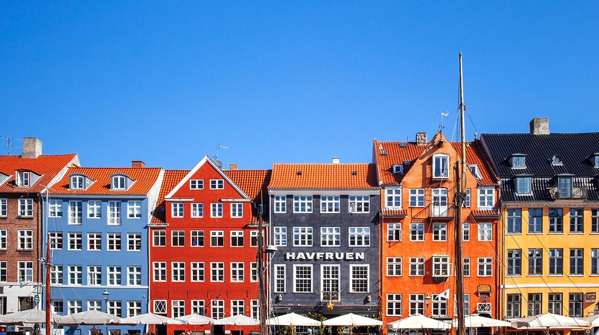 Row of buildings in Nyhavn, Copenhagen.