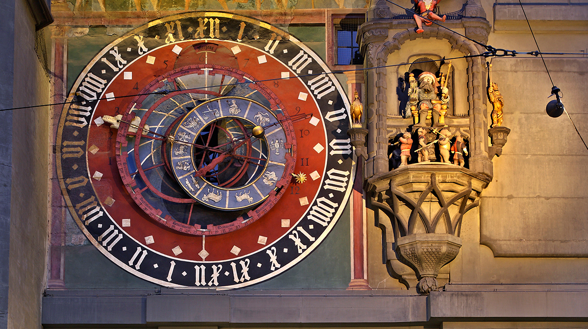 Medieval clock in the Old Town in Bern.