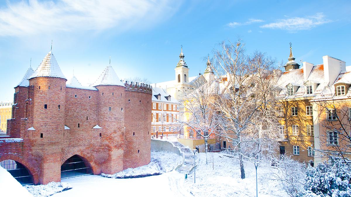 Snowy castle in Warsaw.