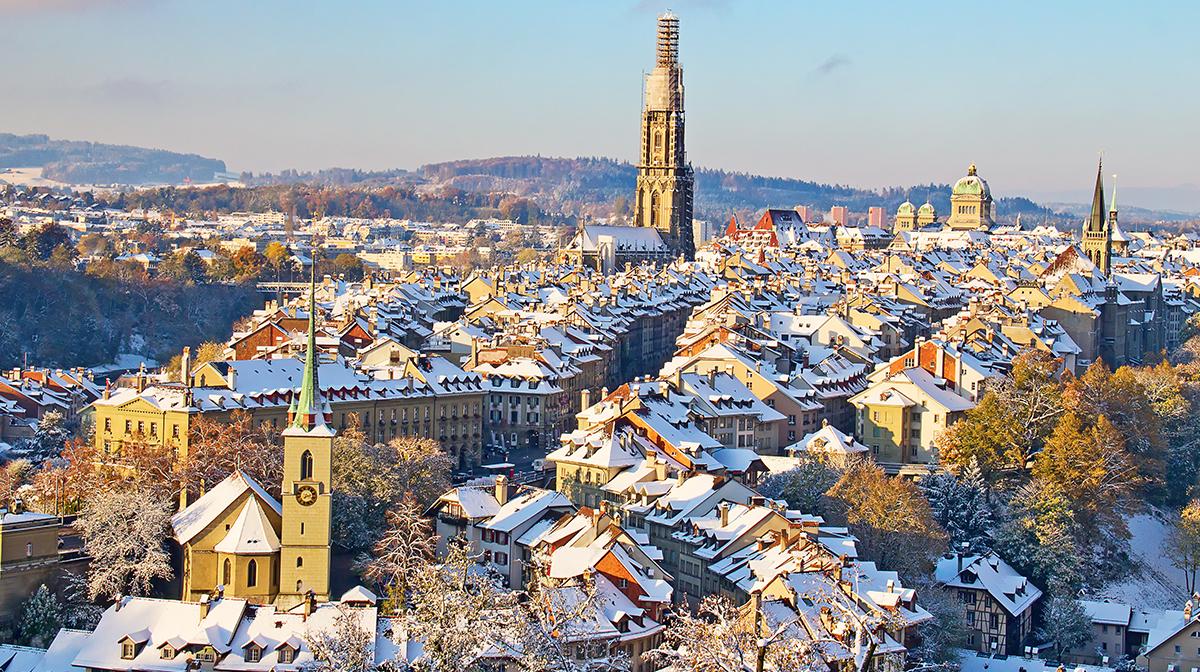 Snowy rooftops in Bern.