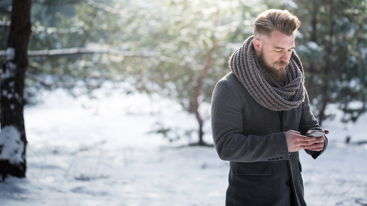 Bearded man in the snow