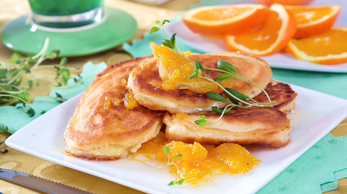 Crepe Suzette with orange syrup