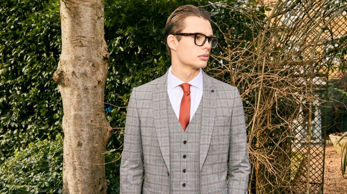 Three piece check suit