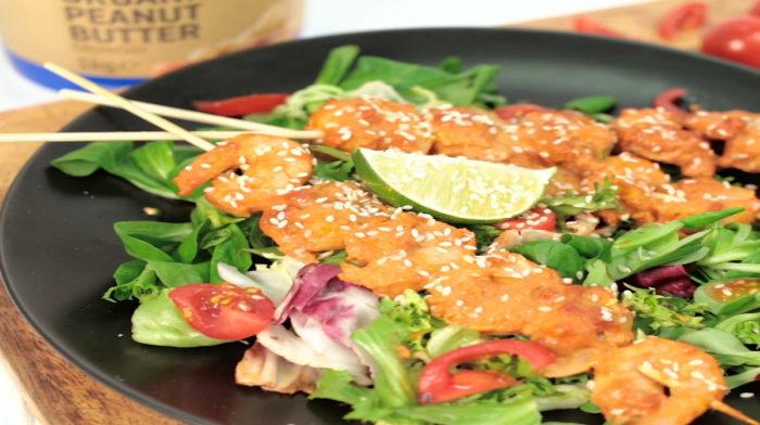 Σουβλάκι Γαρίδας Satay με σάλτσα φυστικοβούτυρο