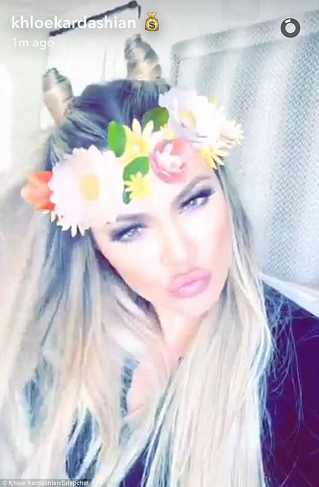 Khloe Kardashian Flower Crown Snapchat