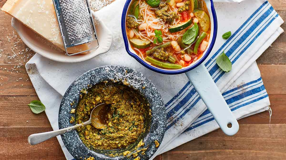 Spring eBook Recipe | Spring Soup With Pesto